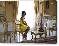 Michelle Obama Meets With Clio Acrylic Print by Everett