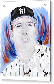 Mickey Mantle Acrylic Print by Steve Ramer