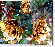Midas Touch Duck Tape Roses Acrylic Print by Laura  Grisham