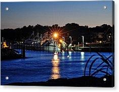 Midnight Marina Acrylic Print by Tazz Anderson