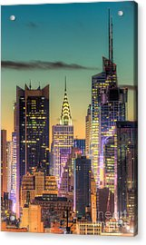 Midtown Buildings Morning Twilight Acrylic Print by Clarence Holmes