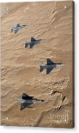 Military Fighter Jets Fly In Formation Acrylic Print by Stocktrek Images