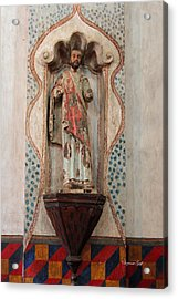 Mission San Xavier Del Bac - Interior Sculpture Acrylic Print by Suzanne Gaff