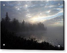 Misty Dawn On Boot Lake Acrylic Print by Larry Ricker