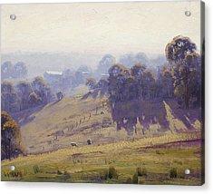 Misty Morning Cottles Bridge Acrylic Print by Graham Gercken
