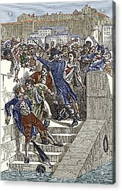 Mob Attacking Jacquard In Lyon, France Acrylic Print by Sheila Terry