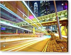 Modern City At Night Acrylic Print by Leung Cho Pan