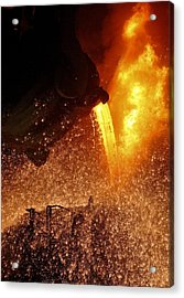 Molten Metal Being Poured From A Vat Acrylic Print by Ria Novosti