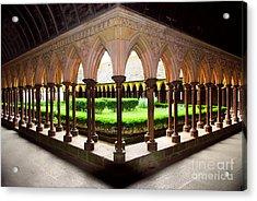 Mont Saint Michel Cloister Garden Acrylic Print by Elena Elisseeva