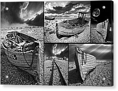 Montage Of Wrecked Boats Acrylic Print by Meirion Matthias
