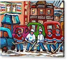 Montreal Bagels And Hockey Acrylic Print by Carole Spandau