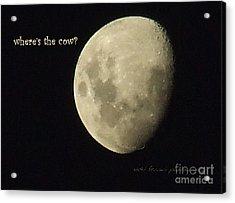 Moon Missing Cow Acrylic Print by Vicki Ferrari