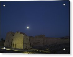 Moon Over Medinet Habu, The Temple Acrylic Print by Kenneth Garrett
