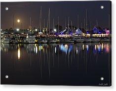 Moon Over The Marina Acrylic Print by Heidi Smith