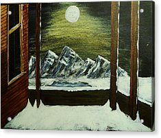 Moon Over The Mountains Acrylic Print by Gordon Wendling