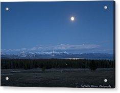 Moonrise At Fishing Bridge Acrylic Print by Charles Warren
