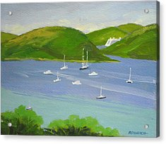 Moored Boats In Charlotte Amalie Bay Acrylic Print by Robert Rohrich