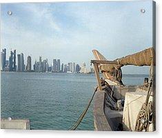 Moored Dhow And Doha Acrylic Print by Paul Cowan
