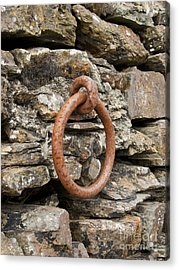 Mooring Ring And Rust Acrylic Print by Steev Stamford