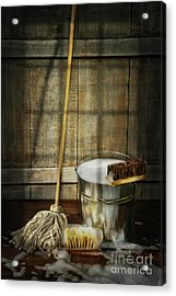 Mop With Bucket And Scrub Brushes Acrylic Print by Sandra Cunningham