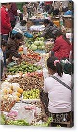 Morning Market In Luang Prabang Acrylic Print by Roberto Morgenthaler