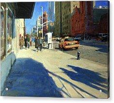 Morning Shadows On Amsterdam Avenue  Acrylic Print by Peter Salwen