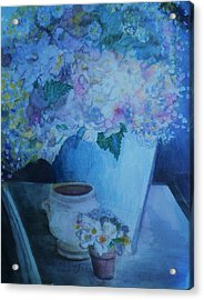 Morning Table Bouquet And Cups  The Cropped Version Acrylic Print by Anne-Elizabeth Whiteway