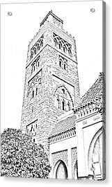 Morocco Pavilion Minaret Epcot Walt Disney World Prints Black And White Line Art Acrylic Print by Shawn O'Brien