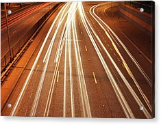 Motorway Light Trails Acrylic Print by Richard Newstead