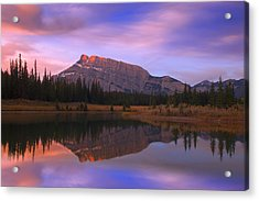 Mount Rundle And The Cascade Ponds In Acrylic Print by Carson Ganci