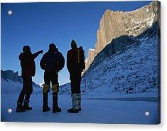 Mountain Climbers On Frozen Stewart Acrylic Print by Gordon Wiltsie