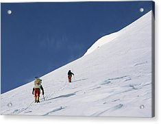 Mountain Climbers Use Safety Ropes Acrylic Print by Gordon Wiltsie