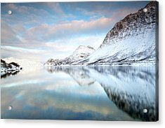 Mountains In Fjord Acrylic Print by Sandra Kreuzinger