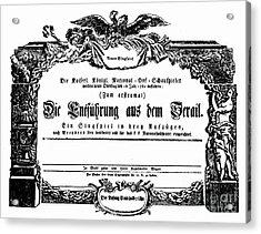 Mozart: Seraglio, 1782 Acrylic Print by Granger