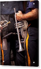 Music - Trumpet - Police Marching Band  Acrylic Print by Mike Savad