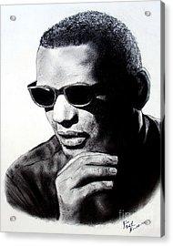 Music Legend Ray Charles Acrylic Print by Jim Fitzpatrick