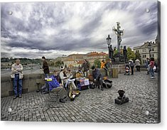 Musicians On The Charles Bridge - Prague Acrylic Print by Madeline Ellis
