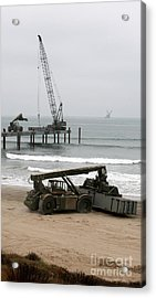 Navy Seabees Dismantling An Elevated Acrylic Print by Michael Wood