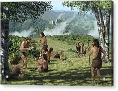 Neanderthals In Summer, Artwork Acrylic Print by Mauricio Anton