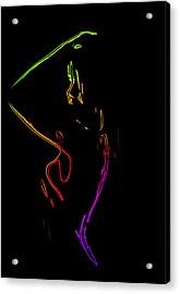 Neon Shower Girl Acrylic Print by Stefan Kuhn
