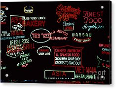 Neon Signs, 1937-1971 Acrylic Print by Granger