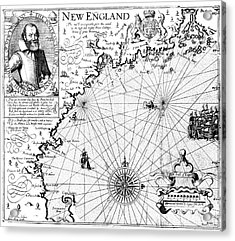 New England Map, 1616 Acrylic Print by Granger