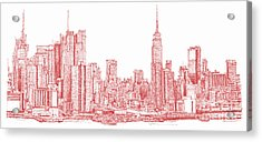 New York City Red Ink Acrylic Print by Building  Art