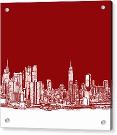 New York City Red Skyline  Acrylic Print by Building  Art