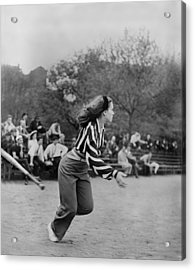 New York City, Woman Playing Softball Acrylic Print by Everett