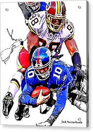 New York Giants Eli Manning -san Francisco 49ers Parys Haralson Acrylic Print by Jack K