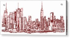 New York Maroon Ink Acrylic Print by Building  Art