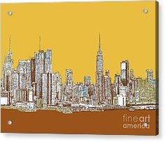 New York Mustard Sepia Acrylic Print by Building  Art