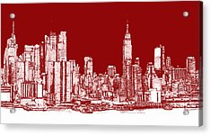 New York Rectangular Skyline Red Acrylic Print by Building  Art