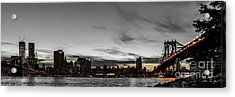 New Yorks Skyline At Night Colorkey Acrylic Print by Hannes Cmarits